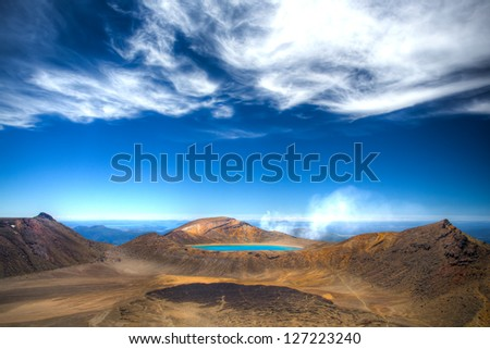 Lake Blue - top of the Tongariro crossing hiking - stock photo