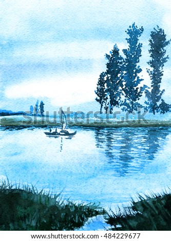 Lake, boat, trees - landscape. Watercolor painting. Poster.  Use printed materials, signs, items, websites, maps, posters, postcards, packaging.