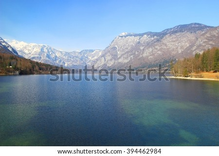 Lake Bohinj in Triglav National park with Julian Alps in background