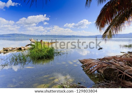 Lake Bosumtwi, which was formed by an ancient meteorite impact crater. It is approximately 8 km across and the only natural lake in Ghana - stock photo