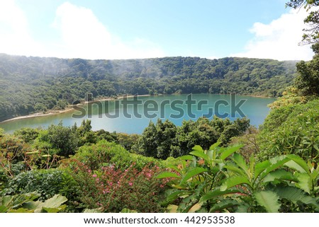 Lake Botos (Blue Lake) in Poas Volcano National Park, Costa Rica - stock photo