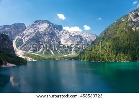 Lake Braies and the Seekofel mountain in the Dolomites, Italy