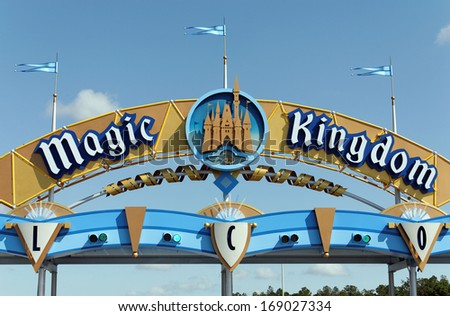 LAKE BUENA VISTA, FL - APRIL 18: A sign marks the entrance to the Magic Kingdom section of Walt Disney World on April 18, 2013. Walt Disney World is the worlds most visited theme park. - stock photo