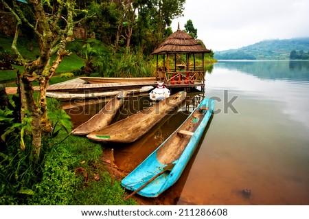 Lake Bunyonyi in Uganda, Africa - stock photo