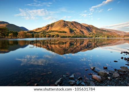 Lake Buttermere, Lake District Cumbria England - stock photo