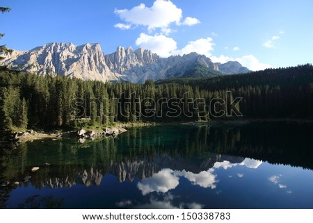 lake carezza glacial lake dolomites Italy
