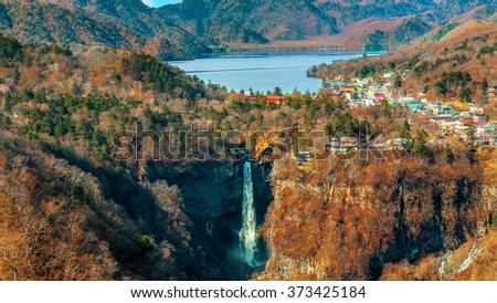 Lake Chuzenji with Kegon Waterfall at Nikko National Park in Tochigi Prefecture in Japan - stock photo