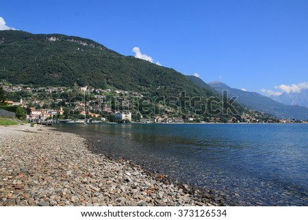 lake como, lake view from gravedona to domaso