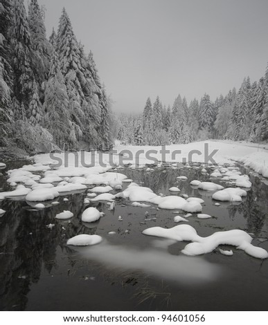 Lake covered with snow surrounded with pine forest - stock photo