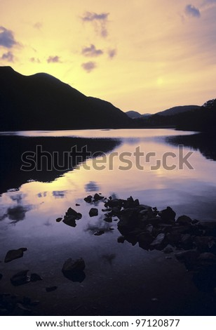 lake district national park cumbria england uk - buttermere sunset - stock photo
