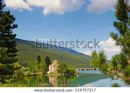 Lake Doxa in Feneos with the church Agios Fanourios (Palaiomonastiro), Greece