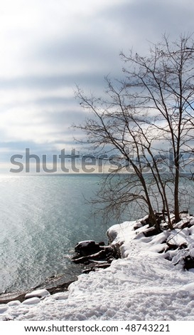 lake erie shoreline - stock photo