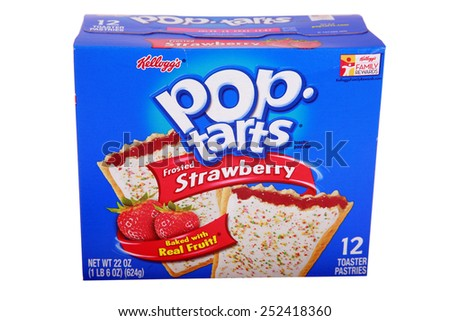 Lake Forest CA - February 3, 2015: packet of Kellog's POP tarts frosted strawberry toaster pastries -illustrative editorial   Isolated on white with room for your text - stock photo