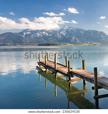 Lake Forggensee, a mountain lake near Fuessen, Germany  - stock photo