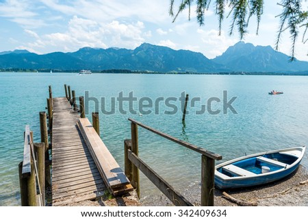 Lake Forggensee in Allgaeu - Germany - stock photo