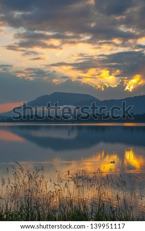 Lake Forggensee near Neuschwanstein in upper Bavaria at Morning,Germany