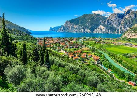 Lake Garda and Sarca river near Torbole town,Northern Italy,Europe - stock photo
