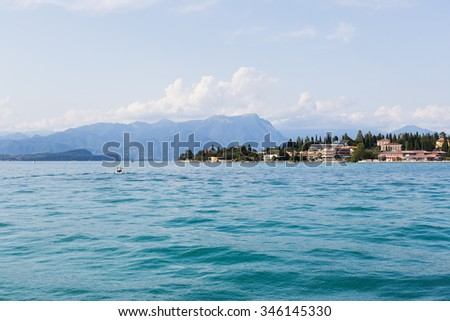 Lake Garda, the largest lake in Italy, located in northern Italy, landscape view of it.