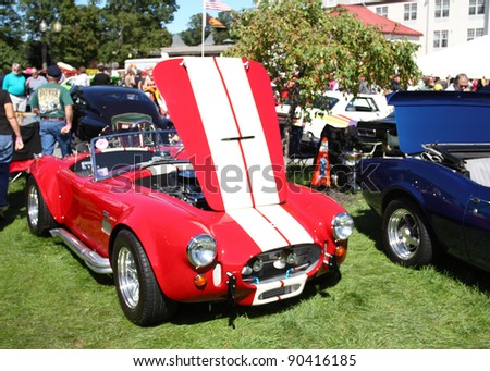 LAKE GEORGE, NY, USA -SEPTEMBER 10: Vintage Shelby Cobra at the 23rd Annual Adirondack Nationals on September 10, 2011 in Lake George, NY, USA - stock photo