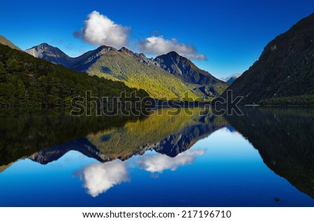 Lake Gunn, Fiordland, New Zealand - stock photo