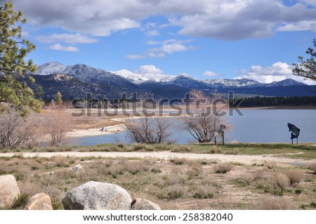 Lake Hemet is a scenic and popular recreational lake on Mount San Jacinto in Southern California. - stock photo