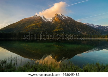 Lake Hintersee and mountain Hochkalter in the Alps of Bavaria, Berchtesgadener Land in Germany
