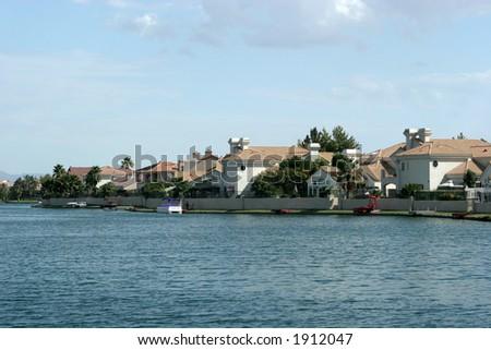 Lake homes - stock photo