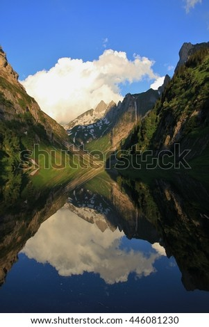 Lake in Appenzell Canton, Swiss Alps. Summer morning at lake Fahlensee.