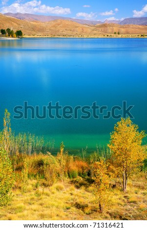 Lake in Atlas Mountains, Morocco, Africa - stock photo
