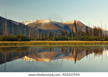 Lake in Banff National Park in Canada - stock photo
