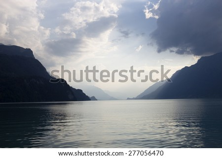 Lake in Brienz at the mountains, in Switzerland - stock photo