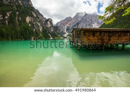 Lake in Dolomites with beautifull color