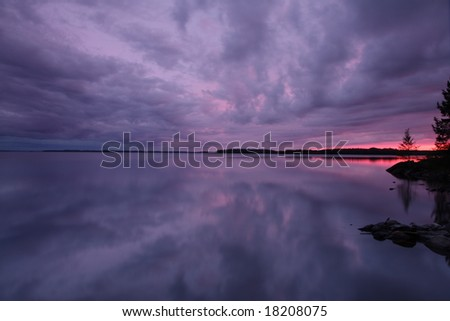 Lake in Finland in the evening light