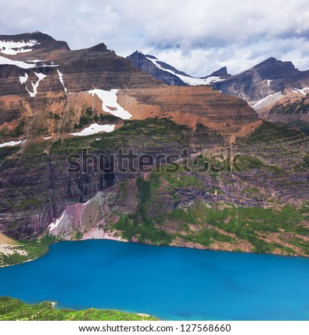 Lake in Glacier NP,USA - stock photo