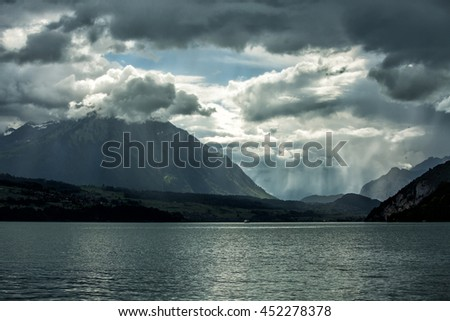 Lake in Interlaken, Switzerland. - stock photo