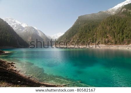 lake in jiuzhaigou national park, china - stock photo