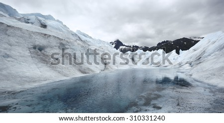 Lake in Mendenhall Glacier, Alaska - stock photo