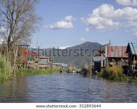 lake in Myanmar  - stock photo