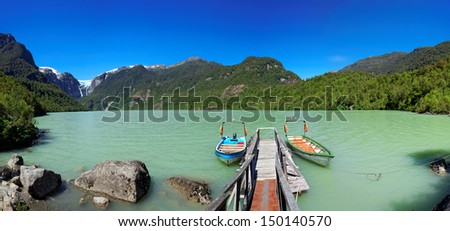 Lake in Queulat National Park with Queulat Glacier, Aysen, Patagonia, Chile, South America - stock photo
