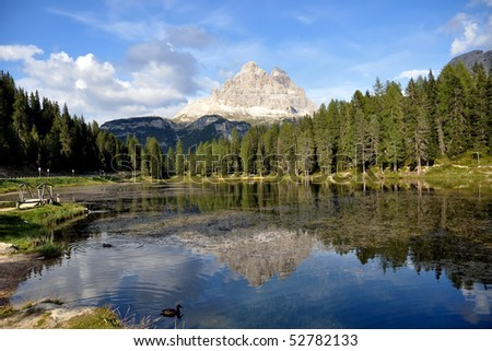 LAKE IN THE ALPS - stock photo