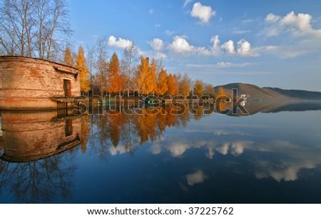 Lake in the autumn - stock photo