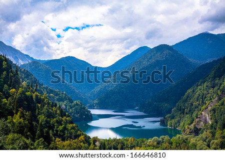 Lake in the mountains, blue lake