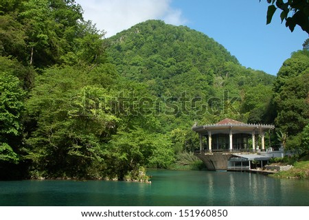 Lake in the mountains near the New Athos, Abkhazia, spring 2006 - stock photo