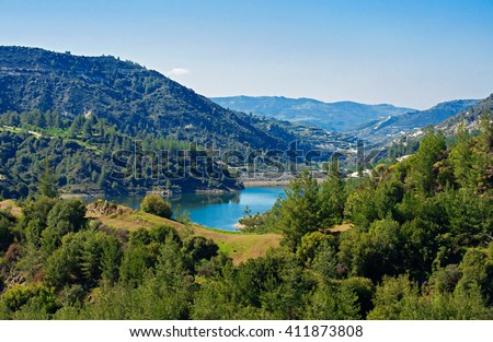 Lake in the mountains of Cyprus - Kannaviou Dam