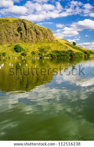 Lake in the mountains of Scotland - stock photo