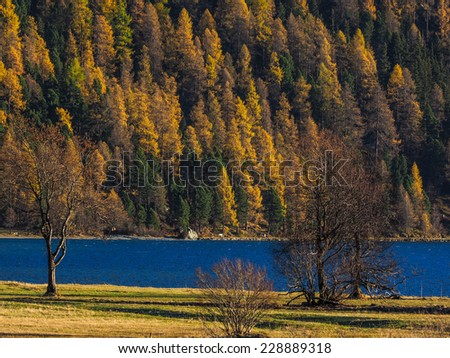 Lake in the Swiss Alps - Beautiful landscape in the Swiss Alps on a day in autumn. - stock photo