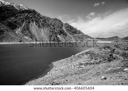 lake in valley,black and white - stock photo