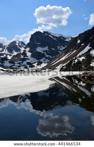lake isabelle in early summer in the indian peaks wilderness area, colorado - stock photo