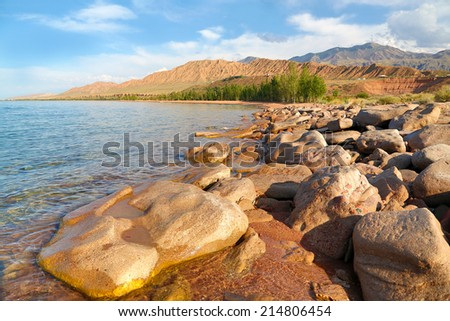 Lake  Issyk-kyl, Kyrgyzstan.  - stock photo