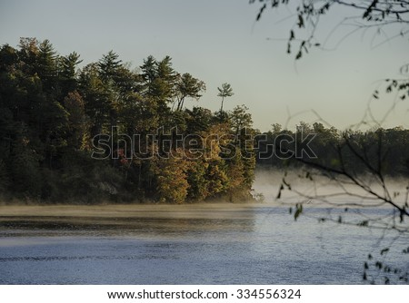 Lake James State Park in North Carolina in the Fall. - stock photo